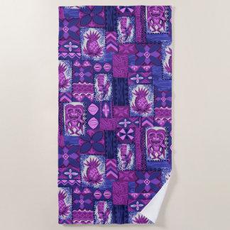 Pomaika'i Tikiのハワイのヴィンテージの樹皮布-紫色 ビーチタオル