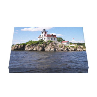 Pomhamは灯台、ロードアイランドを揺すります キャンバスプリント