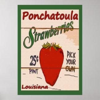 Ponchatoulaのいちごの印 ポスター