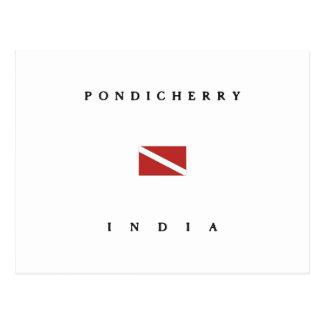 Pondicherryインドのスキューバ飛び込みの旗 ポストカード