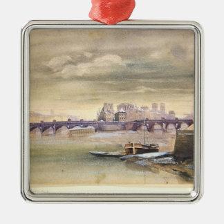 Pont-NeufおよびIle de la Cite 1881年 シルバーカラー正方形オーナメント