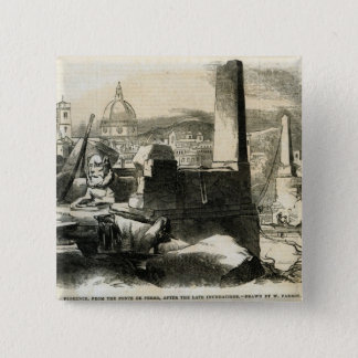 Ponte de Perroからのフィレンツェ、 5.1cm 正方形バッジ