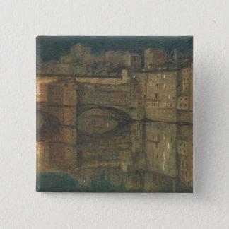 Ponte Vecchio、フィレンツェ(キャンバスの油) 5.1cm 正方形バッジ