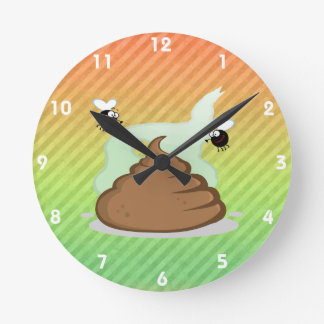 Pooの臭いデザイン ラウンド壁時計