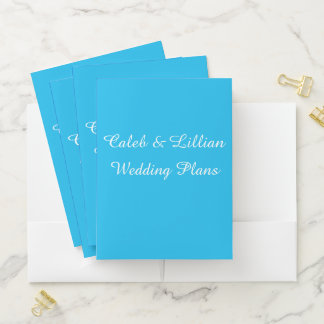 Pool Party Blue Template Wedding Planning Folders ポケットフォルダー
