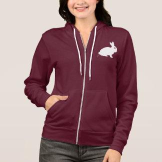 Poopingのウサギの女性ジッパーのフード付きスウェットシャツ パーカ