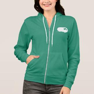 Poopingのモルモットの女性ジッパーのフード付きスウェットシャツ パーカ