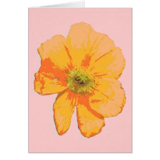 PopArtのオレンジレトロの花 カード
