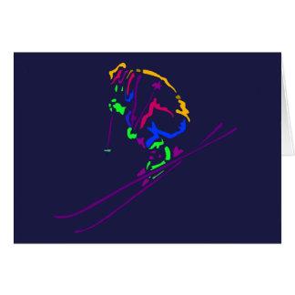 Popartのスキーヤーのスキースキースキーヤーのギフトのギフトのデザイン カード