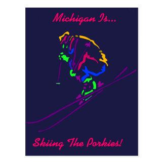 Popartのスキーヤーのスキースキースキーヤーのギフトのギフトのデザイン ポストカード