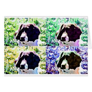 popartのスパニエル犬のデザイン カード