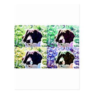 popartのスパニエル犬のデザイン ポストカード