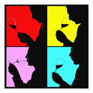 PopArtのワインの試飲のシルエット4のステップ招待状 カード