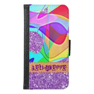 PopArtの一流の明るく抽象的な紫色のグリッターの効果 Galaxy S6 ウォレットケース