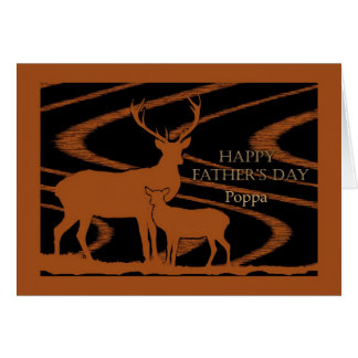 Poppa、分野のシカのための父の日 カード