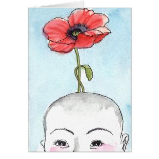 """Poppy Baby"" greeting card, new baby カード"