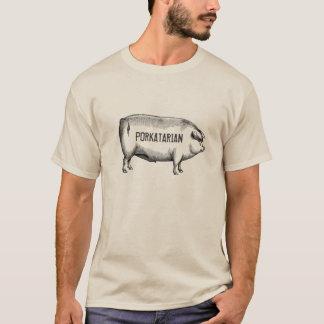 Porkatarian -ヴィンテージのブタのTシャツ Tシャツ