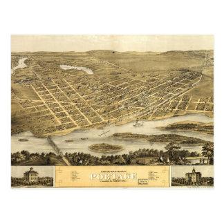 Portage、ウィスコンシン(1868年)の鳥瞰的な眺め ポストカード