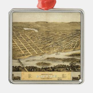 Portage、ウィスコンシン(1868年)の鳥瞰的な眺め メタルオーナメント
