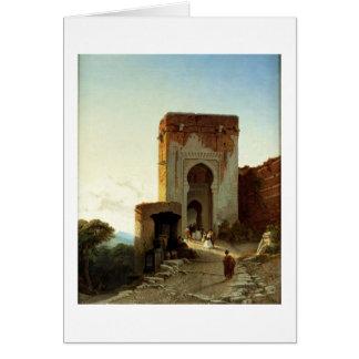 Porte de Justice、アルハンブラ、グラナダ(キャンバスの油 カード