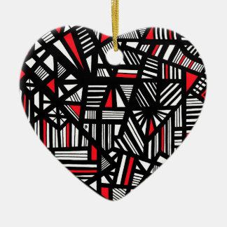 Portisの抽象的な表現の赤く白い黒 陶器製ハート型オーナメント