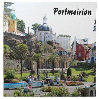 Portmeirionの中心の眺め ナプキンクロス