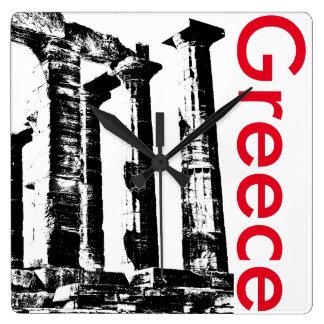 Poseidonの時計のギリシャの最小主義の寺院 スクエア壁時計