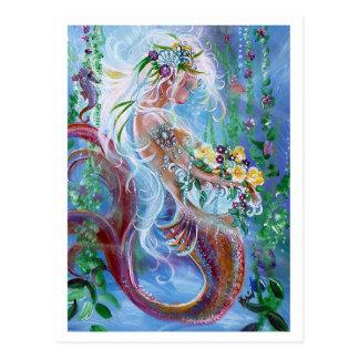 Posiesおよび真珠の人魚の芸術 ポストカード