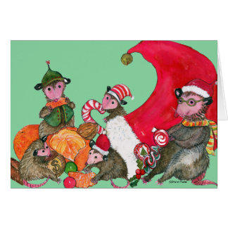 Possums funny Christmas Card, Feasting on Goodies カード