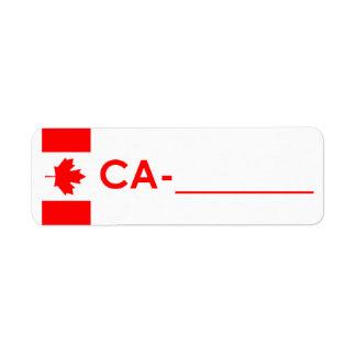 """Postcrossing IDのラベルカナダ""""旗スタイル"""" ラベル"""