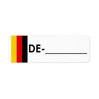 """Postcrossing IDのラベルドイツ""""旗スタイル"""" ラベル"""