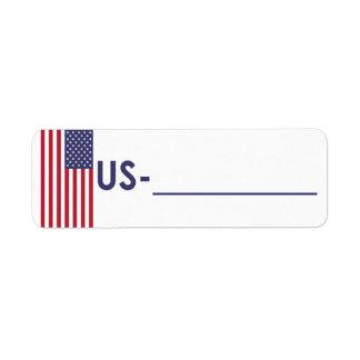 """Postcrossing IDのラベル米国""""旗スタイル"""" ラベル"""