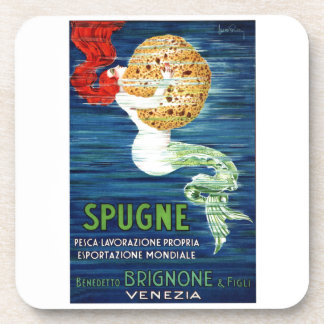 Posteを広告しているスポンジを持つ1920年のイタリアンな人魚 コースター