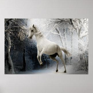 Poster cheval blanc dans la neige ポスター