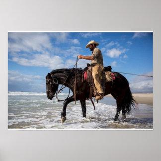 Poster cow boy cheval dans la mer ポスター