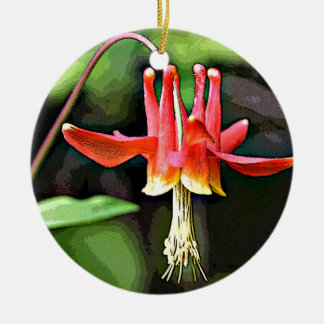 Posterizedの野生のオダマキ(植物) セラミックオーナメント