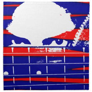 posterized低音のfretboard上の女性の目 ナプキンクロス