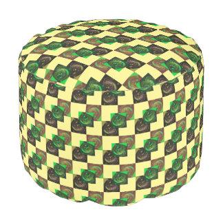 Poufのカスタムな緑のブラウンの黒い黄色 プーフ
