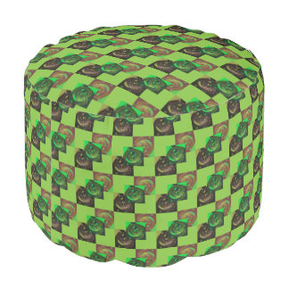 Poufのカスタムな緑のブラウンの黒 プーフ