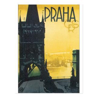 Prahaのヴィンテージ旅行ポスター ポストカード