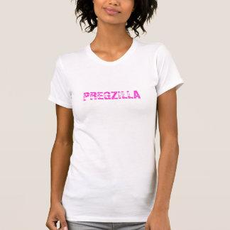 Pregzillaの妊娠した女性のおもしろTシャツ Tシャツ