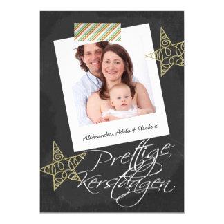 Prettige Kerstdageの黒板の写真フレームおよびテープ カード
