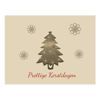 Prettige Kerstdagen Goud Kerstboom Kaart ポストカード