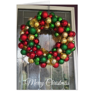 Pretty Christmas Door with Ornamental Wreath Card カード