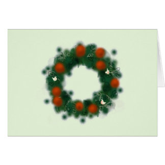 Pretty Christmas wreath with baubles and doves カード