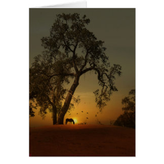 Pretty Horse and Oak Tree Thank You Card カード