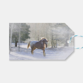 Pretty Horse in the Snow Christmas Gift Tags ギフトタグ
