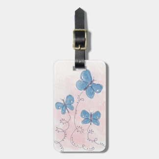 Pretty in Pink Blue Butterfly ラゲッジタグ
