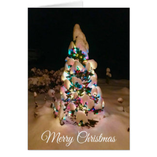 Pretty Lit up Christmas Tree Covered in Snow Card カード