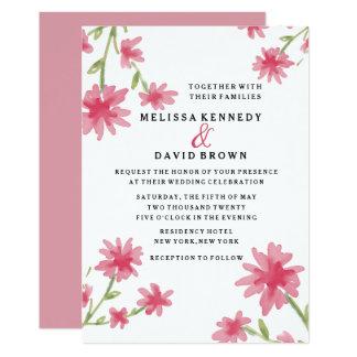 Pretty Pink Watercolor Floral Wedding カード